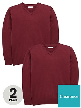 v-by-very-2-pack-v-neck-knitted-school-jumpers-burgundy