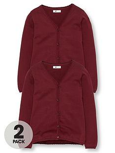 v-by-very-girls-2-pack-knitted-school-cardigans-burgundy