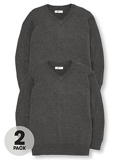 v-by-very-boys-2-pack-v-neck-knitted-school-jumpers-charcoal