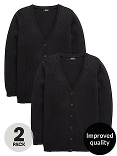v-by-very-schoolwear-girls-cable-knit-longline-school-cardigans-black-2-pack