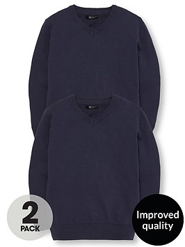 v-by-very-boys-2-pack-v-neck-knitted-school-jumpers-navy