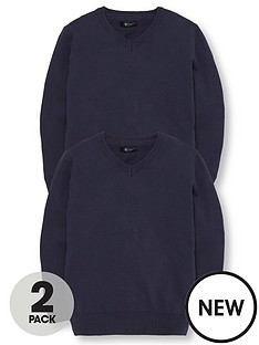 v-by-very-schoolwear-boys-v-neck-school-jumpers-navy-2-pack