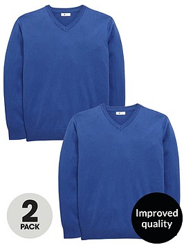 v-by-very-2-pack-v-neck-knitted-school-jumpers-royalnbspblue