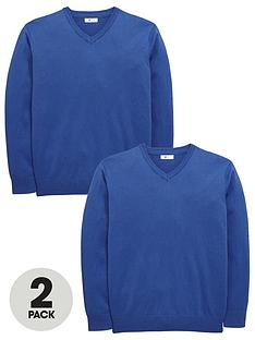 v-by-very-schoolwear-boys-v-neck-school-jumpers-royal-blue-2-pack