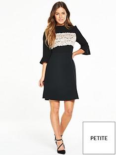 v-by-very-petite-petite-lace-panel-ponte-skirt-dress-blacknude