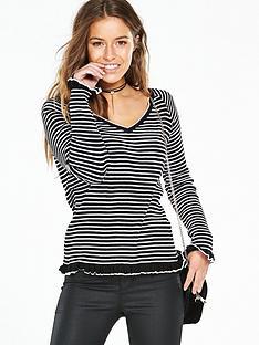 v-by-very-petite-petite-frill-hem-amp-cuff-knittednbspjumper-stripe