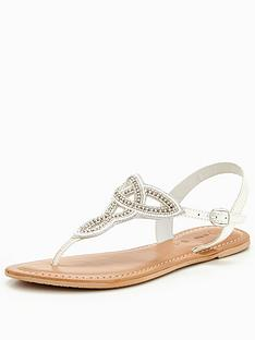 v-by-very-melody-embellished-toepost-sandal-white