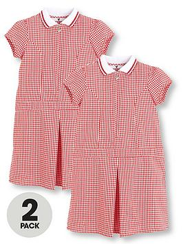 v-by-very-2-pack-girls-rib-collar-summer-gingham-school-dresses-red