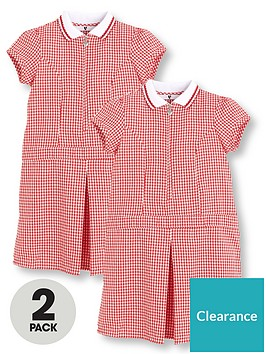 v-by-very-2-pack-girls-rib-collar-summer-gingham-school-dresses-red