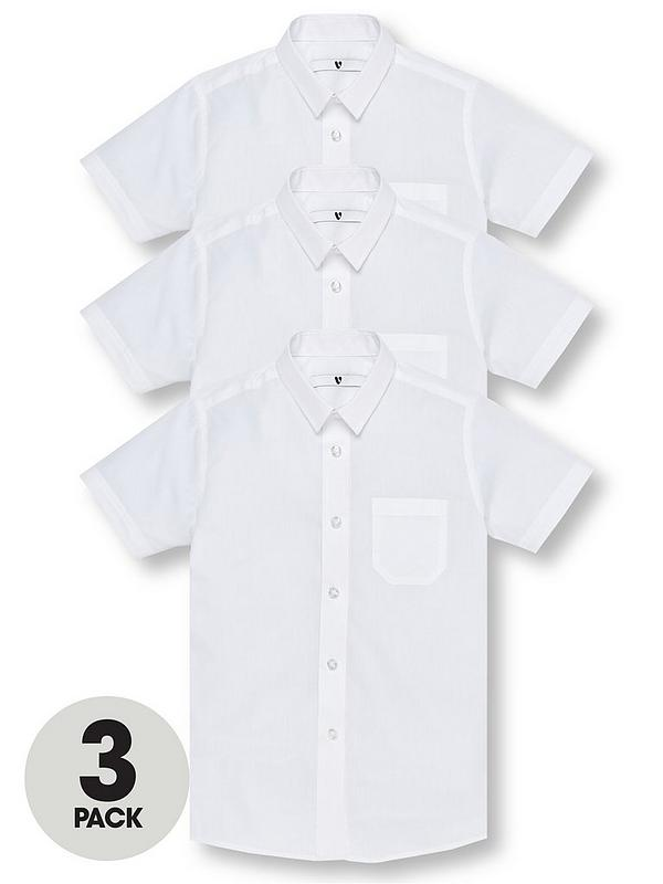 Boys Polycotton School Shirt White Short Sleeve Shirt Twin Pack Ages 3-16