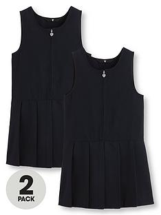 v-by-very-girls-2-pack-pleated-pinaforenbspschool-dresses-navy