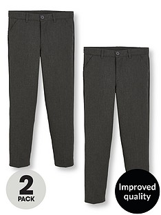 v-by-very-schoolwear-boys-2-pack-slim-fit-trousers-grey