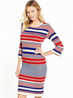 v-by-very-crew-neck-stripe-frill-cuff-midi-dress