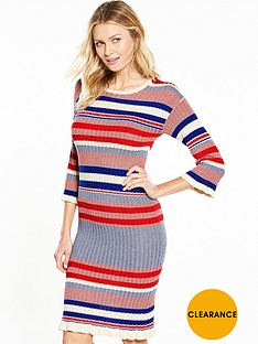 v-by-very-crew-neck-stripe-frill-cuff-midi-dress