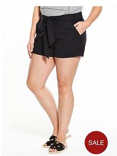 v-by-very-curve-curve-tie-waist-tencel-short-black