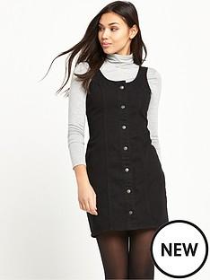 glamorous-button-up-pinaforenbspdress-black