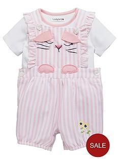 ladybird-baby-girls-ticking-stripe-dungaree-amp-bodysuit-set