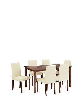 Primo 150 Cm Dining Table 6 Faux Leather Chairs