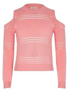 river-island-girls-pink-pointelle-cold-shoulder-jumper
