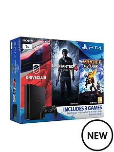 playstation-4-slim-1tb-console-with-uncharted-4-a-thiefs-end-ratchet-and-clank-and-driveclub-plus-optional-extra-controller-andor-12-months-playstation-network