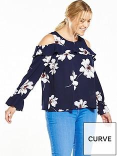 ax-paris-curve-curve-cold-shoulder-printed-blouse