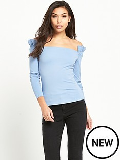 lost-ink-shirred-sleeve-bardot-top-light-blue