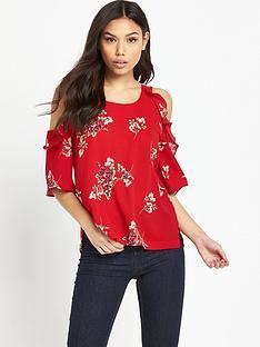 ax-paris-printed-cold-shoulder-blouse