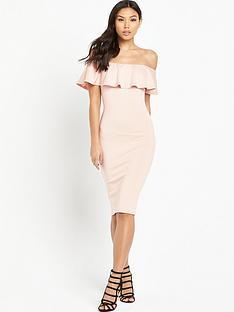 ax-paris-bardot-frill-dress-pink