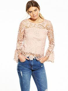 ax-paris-long-sleeve-crotchet-blouse-pink