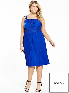 lost-ink-curve-skater-dress-with-lace-and-pleats