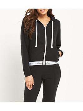 calvin-klein-modern-cotton-lounge-zip-through-hooded-top-black