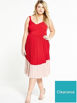lost-ink-plus-colour-block-dress-with-pleated-skirt