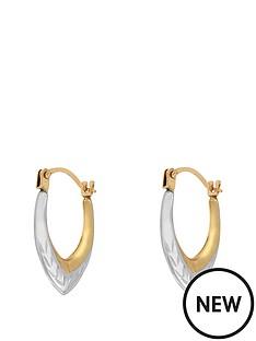 love-gold-9-carat-gold-2-tone-diamond-cut-teardrop-creole-earrings
