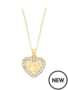 love-silver-sterling-silver-gold-plated-cubic-zirconia-sister-heart-pendant