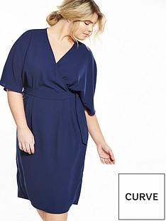 v-by-very-curve-curve-woven-wrap-kimono-sleeve-dress-navy
