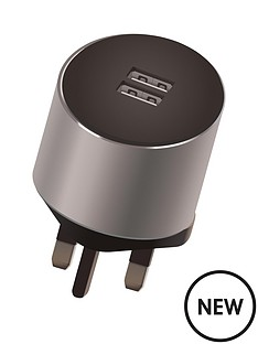 kit-platinum-dual-mains-charger34a-for-all-iphoneipadtabletsmartphone-with-two-usb-charging-port