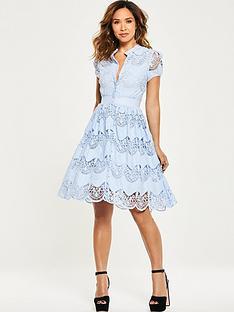 myleene-klass-tiered-lace-skater-dress-blue