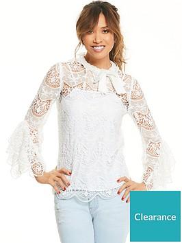 myleene-klass-lace-and-bow-sleeve-blouse-ivory