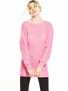 warehouse-mohair-scoop-back-tunic-pink