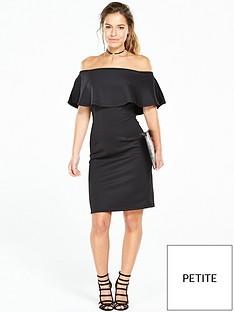 v-by-very-petite-petite-scuba-bardot-mini-dress-black