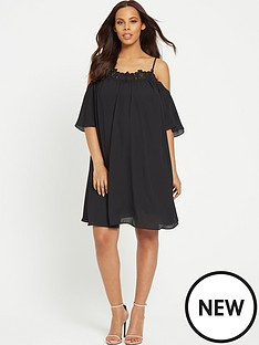 rochelle-humes-maternity-lace-cold-shoulder-swing-dress