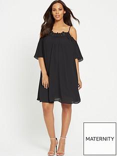 rochelle-humes-swing-maternity-dress-ndash-black