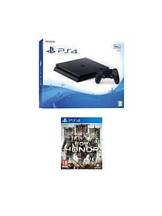 playstation-4-slim-500gb-black-console-with-for-honor-plus-optional-extra-controller-andor-12-months-playstation-network