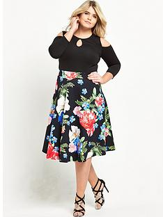so-fabulous-cold-shoulder-printed-skirt-scuba-skater