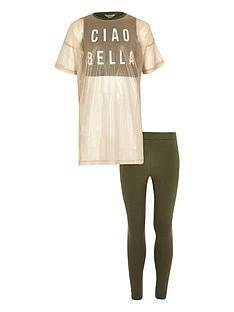 river-island-girls-khaki-mesh-top-and-leggings-set