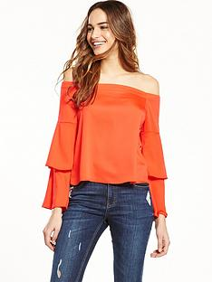 miss-selfridge-frill-sleeve-bardot