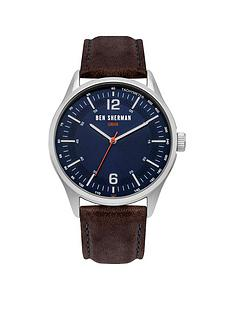 ben-sherman-navy-sunray-dial-brown-leather-strap-mens-watch