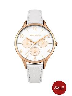 karen-millen-white-matte-dial-rose-gold-sub-dials-white-saffiano-leather-strap-ladies-watch