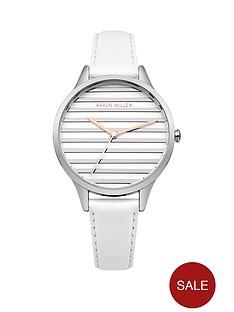 karen-millen-satin-amp-brushed-silver-stripe-dial-white-leather-strap-ladies-watch