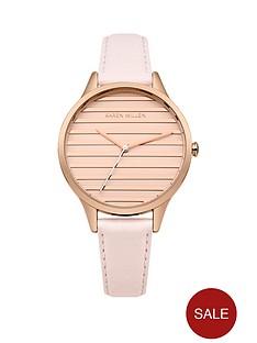 karen-millen-nbspwhite-satin-amp-brushed-rose-gold-stripe-dial-nude-leather-strap-ladies-watch